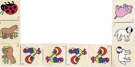 Domino zvířátka v dřevěné krabici katalog